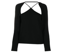 cut-out long sleeved crepe top
