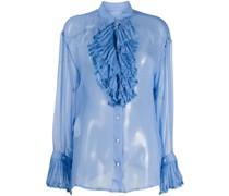 Sheer-Bluse mit Rüschen