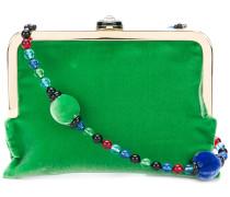 Samt-Umhängetasche mit Perlenkette