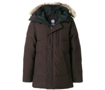 padded button down jacket with fur collar