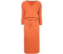 knitted tie waist midi dress