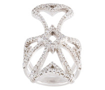 18kt Weißgoldring in Malteserkreuzform mit Diamanten