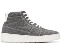 High-Top-Sneakers mit Lederbesatz