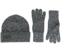 Set aus gerippter Strickmütze und Handschuhen