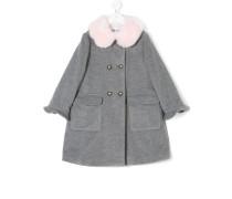 Doppelreihiger Mantel mit Kontrastkragen