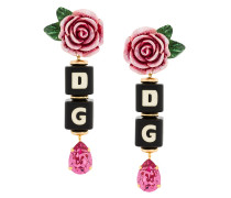 rose and dice drop clip-on earrings