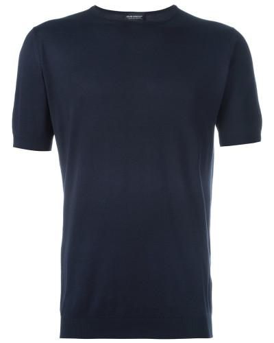 Feinstrick-T-Shirt mit rundem Ausschnitt