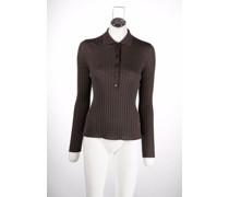ribbed-knit long-sleeve polo shirt