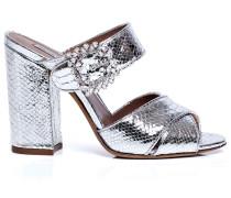 Reyner snake-effect block heel sandals