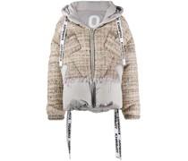 tweed padded down jacket