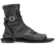 buckled open toe boots