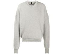 Gerippter Pullover mit Distressed-Kanten
