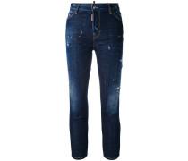 Cropped-Skinny-Jeans in Distressed-Optik