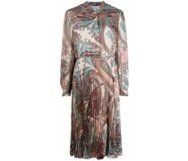 Plissiertes Kleid mit Paisley-Print