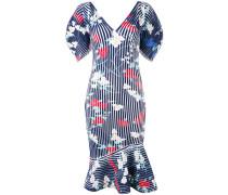 Geripptes Kleid mit Print
