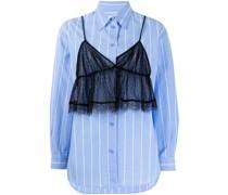 Gestreiftes Hemd mit Tüll-Overlay