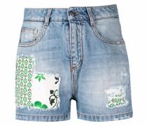 Jeans-Shorts mit Patchwork-Detail