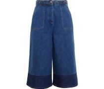 Zweifarbige Jeans-Culottes
