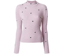 spotted ribbed turtleneck sweater