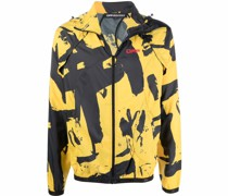 graffiti-print detachable-sleeve jacket