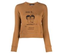 Cropped-Sweatshirt mit Slogan