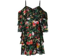 floral print frill trim mini dress