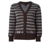 Intarsien-Wollpullover mit Verzierung
