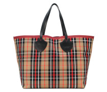XL checked tote