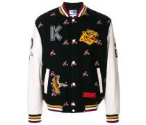 College-Jacke mit floralen Patches