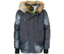 panelled fur hooded jacket