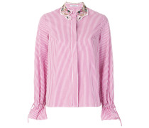 embroidered collar striped shirt