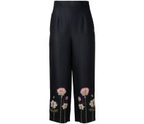 Cropped-Hose mit Blumenstickerei