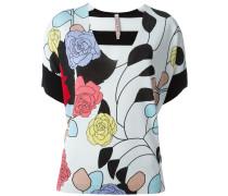 Kurzärmeliger Pullover mit Blumen-Print