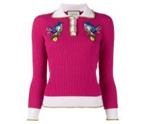 Pullover mit aufgestickten Vögeln