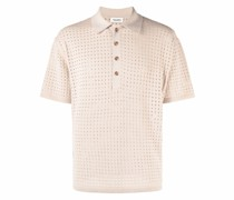 perforated fine knit polo top