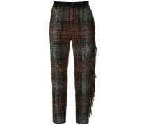 Tweed-Hose mit Fransen