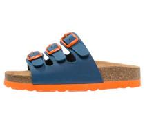 BIOLINE Pantolette flach marine/orange
