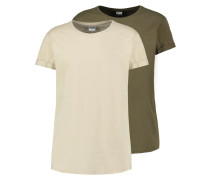 2 PACK - T-Shirt basic - olive/sand
