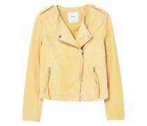 APPLE - Lederjacke - pastel yellow