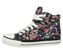 Sneaker high navy pink flower