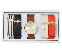 CHARNAS Uhr orange/bone/cognac