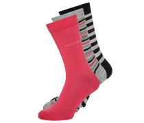 3 PACK Socken black/punch pink