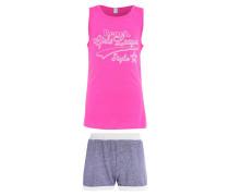 Nachtwäsche Set pink/navy melange