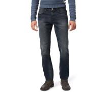 Jeans Straight Leg washed coated blue denim
