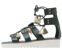 CELIA 20 Plateausandalette black/gold/white