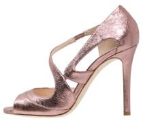 VALENTINA Riemensandalette pink crinkle metallic