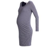 SHIRRED Jerseykleid navy white stripe