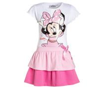 Jerseykleid weiß/rosa/pink