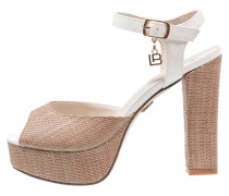High Heel Sandaletten tan/white