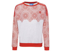 Sweatshirt - light grey heather/core red/white